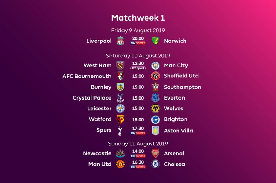 Speelschema Premier League 2019/2020